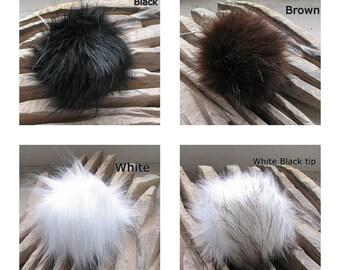 Faux  Fur Pom Poms Long fur. Large Detachable pom pom  pompon fourrure Made in Poland Choose your Color