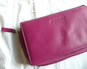 Vintage leather purse -  vintage Golunski wallet- pink leather wallet  - vintage pink leather purse