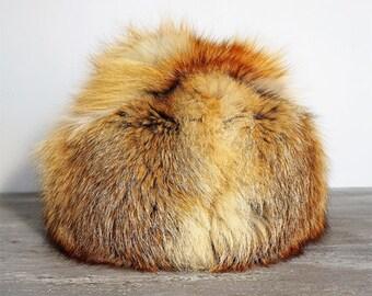 Vintage Genuine Fox Fur Hat, Red fox fur hat, Vintage real Fur Hat,Winter Accessory  Ladies,Boho Hat, Warm Winter Hat