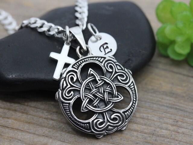 mens celtic necklace sterling silver triquetra