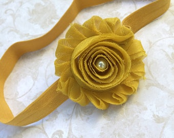 Mustard Shabby Headband, Baby Headband, Photography. Mustard Headband. Autumn Headband, Baby Headbands, Newborn Headband