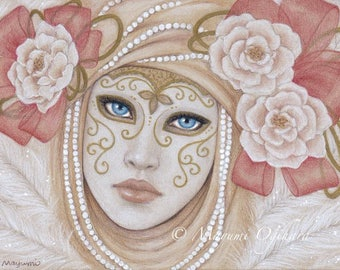 Venetian Mask - Open edition art print, colored pencil drawing