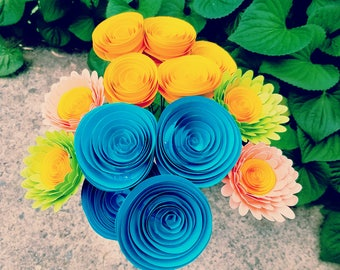 READY TO SHIP - Teal and Yellow Paper Flower Bouquet and Lime/Pink Daisies - Mother's Day, Anniversaries, Wedding Bouquet
