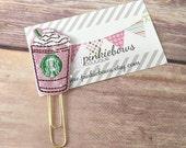 Pink/Green/Frap/Drink/Sparkle Applique Paper Clip/Planner Clip/Bookmark/Journal Marker