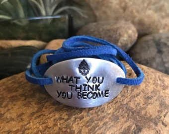 What you think you become bracelet, buddha quotes, hand stamped bracelet, buddha bracelet, yoga jewelry, graduation gifts, namaste