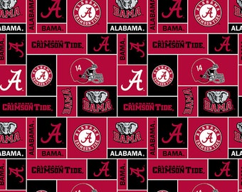 NCAA Alabama Crimson Tide Block 60''Width Fleece Fabric Sold by The Yard
