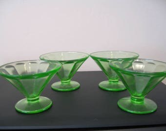 Vintage Vaseline Green Glass Ice Cream/Pudding/Fruit/Dessert Cups - Set of Four