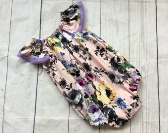 Pink Floral Playsuit Flutter Sleeves Coming Home Outfit Baby Photos Baby Gift Bubble Romper Baby First Birthday Toddler Playsuit Party Rompe