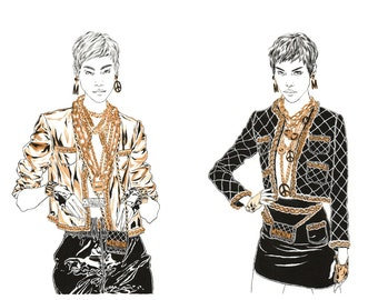 Metallic Beauties - Illustration | Fashion | Print | Wall Decor