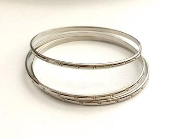 Silver Bangles, Rhinestone Bangles, Silver Bracelets, Silver Cuff