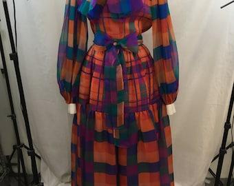 VINTAGE 80s Bill Blass Blue/ Red/ Green Silk Organza Plaid 2 Piece Skirt/ Top Set w/ Sash Size 6