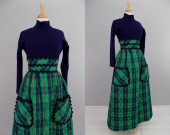 Vtg 70s QUILTED Plaid Mixed Media Texture RICK RACK Prairie Gown \\ MediuM