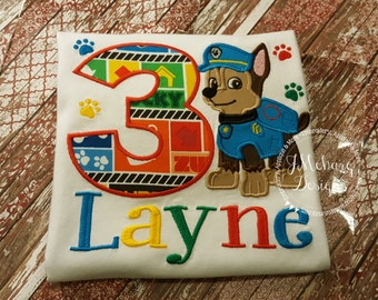 Paw Patrol Custom Shirt or Birthday Custom Tee Shirt - Customizable 73a