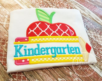 Back to School -Kindergarten Apple - Customized Tee Shirt - Customizable 1a
