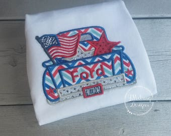 Patriotic Vintage Truck Applique shirt - Customizable -  Infant to Youth