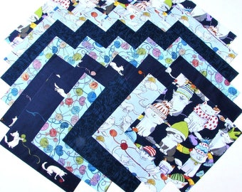 "KITTENS from Clothworks - (30) 6.5"" rotary-cut fabric squares"