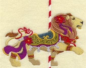 Carousel Christmas Lion Embroidered Towel | Flour Sack Towel | | Dish Towel | Kitchen Towel | Hand Towel | Holiday Towel