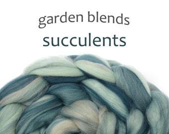 Blended Merino roving - spinning fiber- 100g/3.5oz - duck egg - Garden Blends - SUCCULENTS