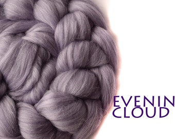EVENING CLOUD - blended tops-shimmer-purple-merino-faux cashmere-silk-milk-100g/3.5oz