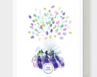 Bride and Groom in a lavender field Guestbook, Original Wedding Book, Hand Drawn Siluets, Thumbprint Baloon, Fingerprint Guestbook, PDF