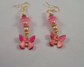 Butterfly Earrings with Flower Drops