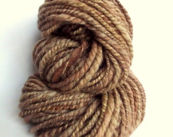 Fawn brown handspun, hand dyed, bulky blue faced leicester yarn knitting yarn / wool, browns