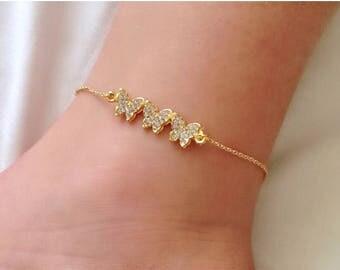 Three Sisters Butterflies Anklet, Butterfly Bracelet, Rhinestone Jewelry, Ankle Bracelet, Gold Anklet, Papillon bracelet, Kids Jewelry
