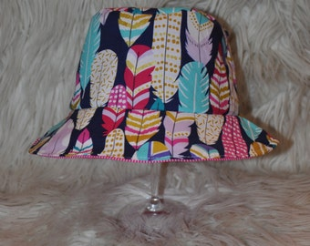 Newborn, baby, toddler or kids reversible summer bucket hat ~ plucked feathers & pink gingham