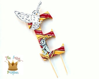 Wizard Monogram Red Gold Wizard Cake Topper, Wizard Stripes Custom Cake Topper, Choose Your Wizard House Party Decoration, Removable Stakes