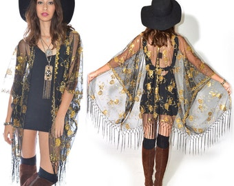 Sheer Lace Sequins Fringe Cocktail Party Kimono Jacket GOLD Coachella Festival