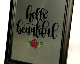 "Hand-painted Mirror, ""Hello Beautiful"""