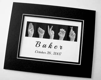 ASL Alphabet Sign Language Letters - Family NAME - and Wedding or Anniversary Date - Black & White Digital Photograph