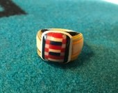 Vintage Celluloid Bakelite Folk Art Prison Ring by Bob Dodd (Size 7)