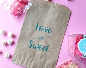 Love is Sweet favor bag - wedding favor bag - candy bag- goodie bag- party favor bag-thank you favor- welcome favor bag- bridal shower favor