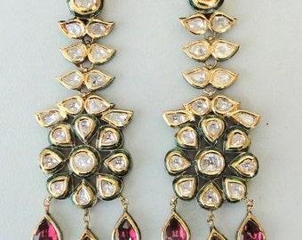 Vintage Antique Solid 20k Gold Diamond Polki Kundan Enamel Work Earring Pair Ind