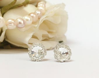 Crystal bridal stud earrings, silver wedding studs, bridal jewelry earrings, Swarovski crystal studs, bridal crystal earrings, bridal studs