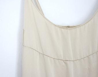 Ecru Silk Maxi Slip Empire Waist Full length Slip Handmade Size 6