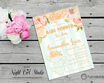 Baby Shower Tea Party Invitation, Peach and Mint Roses, Vintage Floral, Tea Party, Gender Neutral
