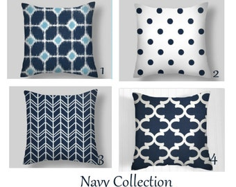 Blue Pillow Covers,  Navy  Blue Pillows, Blue  Decorative Pillows, Throw Pillows, Home Decor, All sizes 16  18 x 18  20 Blue Pillows