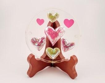Glitter Heart Handmade Resin Coaster FI0287