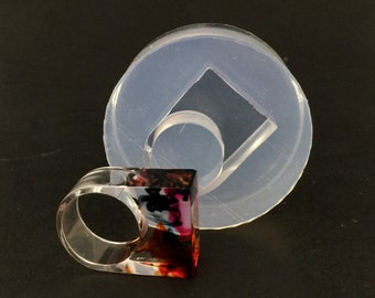 Ring clea silicone mold. Ring size US 7. Statement ring. Resin molds. Made in USA. (MR137)