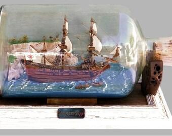 Ship In a Bottle - Bottle Ship - Model Ship - Sail Ship Model - Scale Ship Model - Ship Diorama - Ship Modeling - Impossible Bottle -