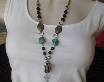 Vintage Assemblage Necklace Turquoise Necklace Southwest Necklace
