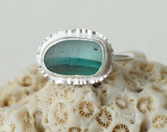 Green and Clear Striped English Multi Sea Glass Stacker Ring, Size 8 1/2 - Genuine Sea Glass, Natural Sea Glass - Sterling Silver