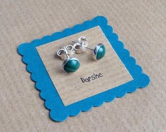 Green Earrings, Green Studs, Malachite Stud Earrings, Green Stud Earrings, Silver Earrings,   Malachite Studs,  Malachite Earrings