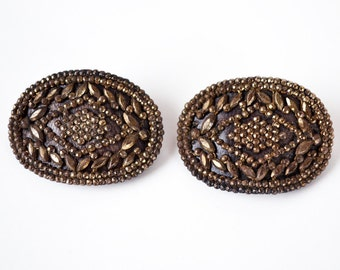 Victorian Cut Steel Buckles | French Cut Steel | M.G. France | Faceted Steel | Two Buckles |  1800's Jewelry