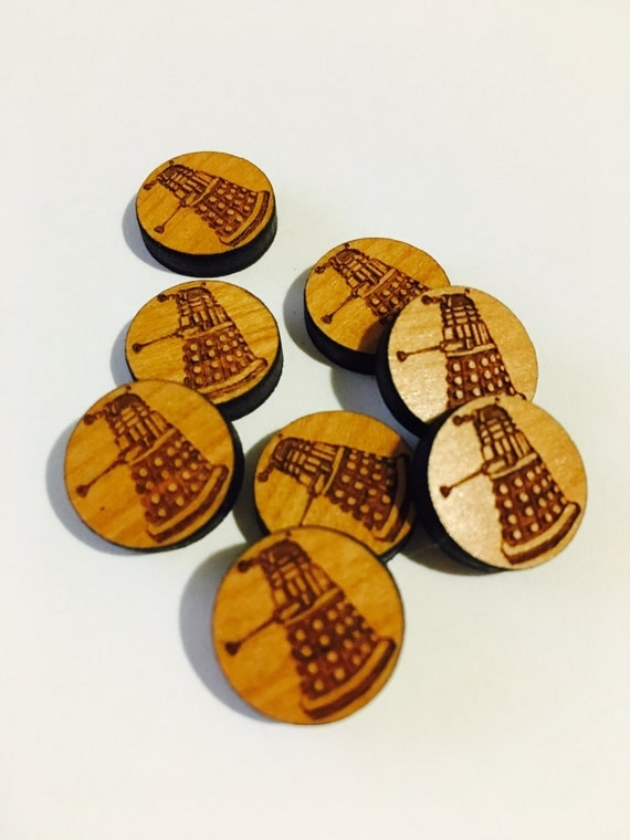 Laser Cut Supplies-8 Pieces. Dalek Charms - Laser Cut Wood. Earring Supplies- Little Laser Lab Sustainable Wood Products