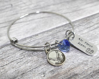 Air Force Mom Stainless Steel Bangle | Airforce Mom Bracelet | USAF Mom, Wife, Girlfriend Jewelry | Milso Jewelry | Air Force Jewelry