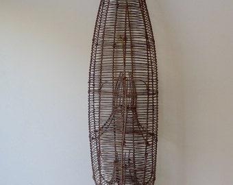 Antique Folk Art Metal Wire Fish or Eel Trap