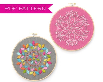 Embroidery Pattern, PDF pattern, Mandala design, Mandala embroidery, Floral embroidery, DIY Hoop Art, Embroidery tutorial, Boho Decor